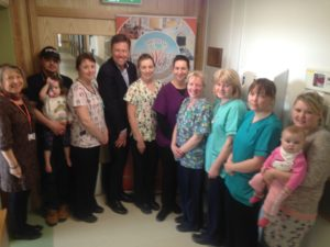Lily Byrnes (GM WGH) and Ciaran Sheridan (Chairman Friends) with nursing staff, parents and children at St Gabriel's Ward